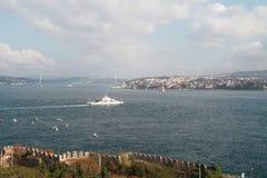 从Topkapi宫殿,伊斯坦布尔,土耳其的伊斯坦布尔视图 免版税库存照片