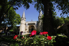 Topkapi palace. Entrance to topkapi palace and red roses Stock Images