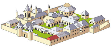 Topkapi palace. Vectoral illustration of Ottoman palace and museum. EPS file available Royalty Free Stock Photos