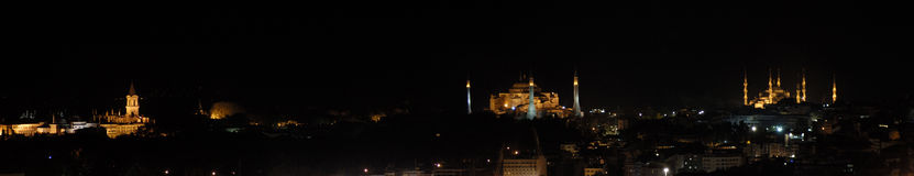 Topkapi palace, hagia sophia and blue mosque. Panorame of topkapi palace, hagia sophia and blue mosque at night in istanbul, Turkey Royalty Free Stock Image