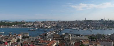 Topkapi Palace, Hagia Sophia, Blue Mosque and the Golden Horn, as seen from Galata in Istanbul, Turkey Royalty Free Stock Images