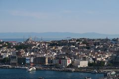 Topkapi Palace, Hagia Sophia, Blue Mosque and the Golden Horn, as seen from Galata in Istanbul, Turkey Royalty Free Stock Image