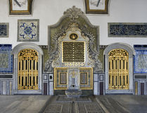 Topkapi Palace Interior. Close up of golden doors in the interior of the Topkapi Palace in Istanbul royalty free stock photography