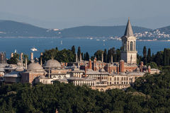 Topkapi Palace Istanbul. The Topkapi Palace on top of a hill and the bosphorus in the horizon, Istanbul, Turkey stock photography