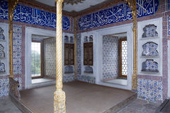 Topkapi palace in Istanbul. ISTANBUL,TURKEY- MARCH 20,2014: Beautifully decorated vintage audience hall of Sultan at Topkapi palace in Istanbul Stock Images