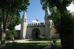 Topkapi Palace Museum in Istanbul - The Gate of Salutation is the Main Entrance stock photography