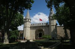 Topkapi Palace Museum in Istanbul - The Gate of Salutation is the Main Entrance stock image