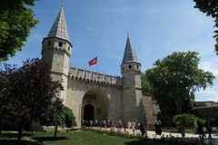 Topkapi Palace Museum in Istanbul - The Gate of Salutation is the Main Entrance royalty free stock photography