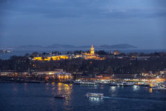 Topkapi palace and prince islands at night, Istanbul Stock Photography