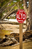 Toples beach sign Royalty Free Stock Image