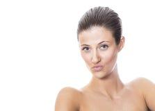 Toples zmysłowości kobieta z ekspresyjnymi wargami Zdjęcia Stock