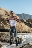 Topless african black tearing white shirt Royalty Free Stock Image