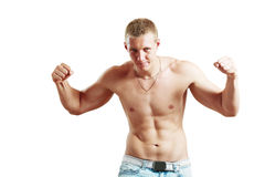 Topless athletic man Stock Images