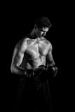 Topless Boxer Greyscale Photography Stock Photo