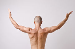 Topless dancer, man stripper posing with his back and arms up opened. Royalty Free Stock Photography