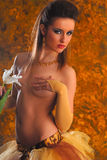 Topless erotic girl with flower Royalty Free Stock Images
