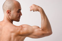 Topless fit man posing with his arm up showing his biceps. Stock Photography