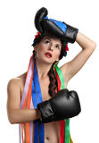 Topless girl with boxing gloves Royalty Free Stock Photography