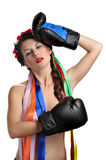 Topless girl with boxing gloves Stock Photos
