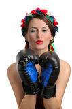 Topless girl with boxing gloves kissing Royalty Free Stock Image