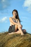 Topless girl hay bale Royalty Free Stock Photo