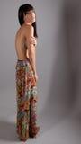 Topless kvinna i lång kjol Fotografering för Bildbyråer