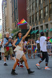 Topless LGBT Pride Parade participant in New York City. NEW YORK - June 29, 2014: Topless LGBT Pride Parade participant in New York City on June 29, 2014. LGBT Royalty Free Stock Photo