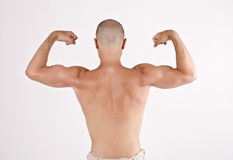 Topless man from the back raising his arms and fists. Stock Image