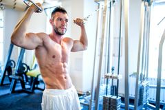 Topless man, bodybuilder and muscular man working the biceps. At gym, showing abs royalty free stock photo