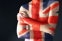 Topless man with Great Britain Flag painted on his body Stock Images