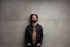 Topless man in leather jacket Royalty Free Stock Photo