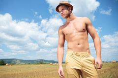 Topless man outdoor looks away Royalty Free Stock Photo