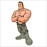 Topless Naked Soldier Muscle Fitness. A topless naked soldier with mucles standing Stock Photography