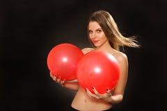 Topless spela för flicka Arkivfoto