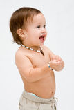 Topless toddler boy Royalty Free Stock Image