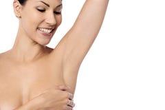 Topless vrouw die op wit wordt geïsoleerd stock foto's