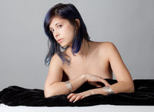 Topless Woman With Black Velvet Fabric Stock Image