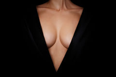 Topless woman body covering her big breast Royalty Free Stock Image