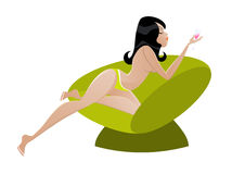 Topless woman on chair Royalty Free Stock Photography