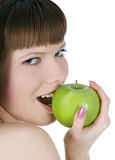 Topless woman with green apple Stock Photo