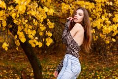 Topless young girl with long brown hair. In autumn park Royalty Free Stock Image