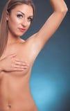 Toplesse Frau des schönen Pass-Sitzes Lizenzfreie Stockfotos