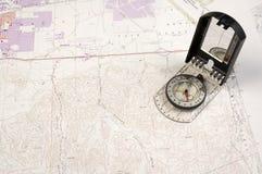 Topo-översikt och kompass Royaltyfria Foton