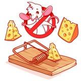 Topo bianco sveglio dentro il segno proibitivo rosso con formaggio ed il mou Immagine Stock