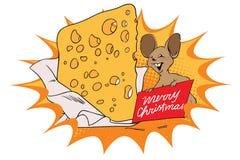 Topo con un pezzo enorme di formaggio per il Natale illustrazione vettoriale