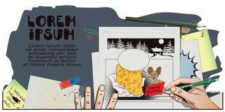 Topo con un pezzo enorme di formaggio per il Natale La mano dipinge il pic illustrazione vettoriale