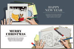 Topo con un pezzo enorme di formaggio per il Natale La mano dipinge il pic royalty illustrazione gratis