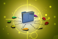 Topo del computer con la cartella di archivio Fotografie Stock