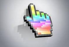 Topo del computer del cursore della mano del pixel di colore. Immagini Stock