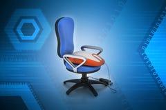 Topo del computer sulla sedia Immagini Stock Libere da Diritti